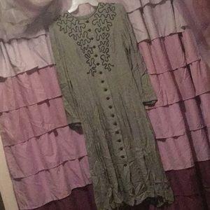 Fancy vintage steampunk black houndstooth dress